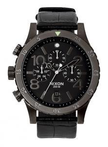 Hodinky NIxon 48-20 Chrono Leather Black Gator A363 1886