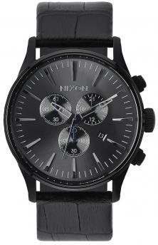 Hodinky Nixon Sentry Chrono Leather Black Gator A405 1886